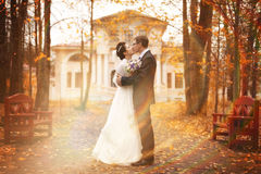 Couple walks in beautiful autumn park Stock Photos
