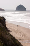Couple Walks Blustery Day Bluffs Seaside Oregon Coast Pacific Stock Photo