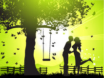 Couple walks on nature, sunset Royalty Free Stock Photo