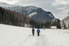A couple walks on a snow-covered valley in the mountains royalty free stock images