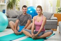 Free Couple Warming Up Before Training Stock Image - 12048321
