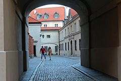 Couple in Warsaw stock images