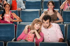 Couple Watch Movie Stock Image