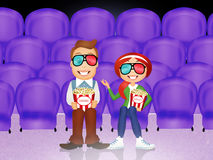 Couple watch movies in 3d Royalty Free Stock Images
