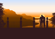 Couple watching beautiful sunset. Illustration of a couple on a terrace watching the sun setting in the sea Royalty Free Stock Images