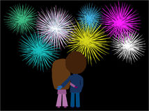 Couple watching fireworks. Vector illustration of a couple watching a fireworks display Royalty Free Stock Photos