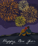 Couple watching the fireworks. New Year card with couple watching the fireworks Stock Image