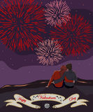 Couple watching the fireworks. Valentines day card with a couple watching the fireworks Stock Photo