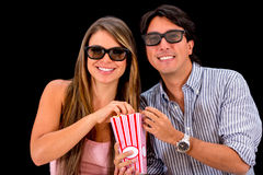 Couple watching movie in 3D Royalty Free Stock Images