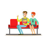 Couple Watching A Movie With Popcorn And 3D Glasses, Part Of Happy People In Movie Theatre Series Royalty Free Stock Photo