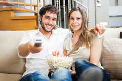 Couple watching a movie Royalty Free Stock Photography