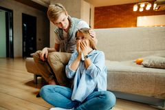 Couple watching sad movie, woman cry. Young couple watching sad movie, women cry Royalty Free Stock Image