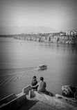 Couple watching the sea. Couple holding each other and watching the seaview, Antalya, December 2013 (Turkey Stock Image