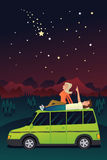 Couple watching the stars in the sky vector illustration