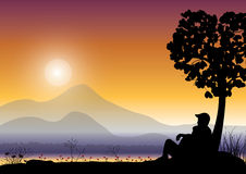 Couple watching sunrise, Vector illustrations Royalty Free Stock Images