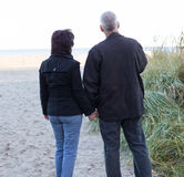 Couple watching sunset. Couple watching sunset over the beach and holding hands Stock Image