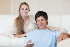 Couple watching television Stock Photography