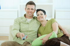 Couple watching TV Stock Photo