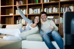 Couple Watching TV Stock Photography