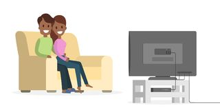 Couple watching TV. Couple watching TV at home together on white vector illustration
