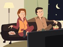 Couple watching tv with different emotions. Couple watching tv with emotionally- funny vector cartoon illustration Stock Photography