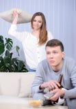 Couple Watching TV Stock Image