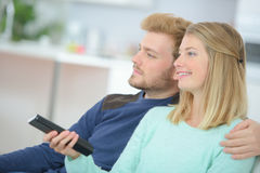 Couple watching TV series Royalty Free Stock Photography