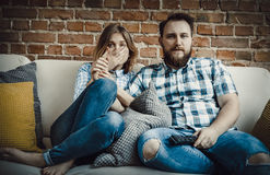 Couple watching tv. Stock Photography