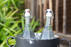 Couple of water bottles in ice bucket at hotel Royalty Free Stock Photo