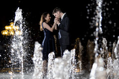 Couple on Water Fountains Royalty Free Stock Photo