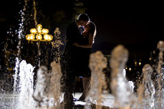 Couple on Water Fountains Royalty Free Stock Image