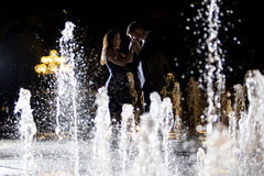 Couple on Water Fountains Royalty Free Stock Photography