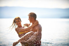 Couple in water royalty free stock images