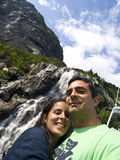 Couple in the Waterfall. Photo taken in a cruise along the Lysefjord in Stavanger (Norway Royalty Free Stock Photos
