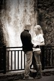 Couple by Waterfall (BW) Stock Photo
