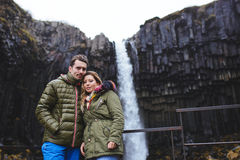 Couple and Waterfall Stock Image