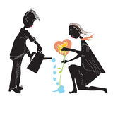 Couple watering a flower Stock Photos