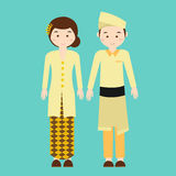 Couple wear malaysia malaysian traditional clothes vector drawing Stock Images