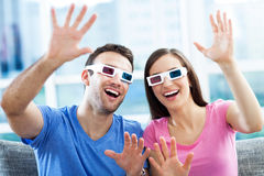 Couple wearing 3d glasses Royalty Free Stock Photography