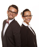 Couple wearing glasses isolated over a white background Royalty Free Stock Photos