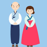 Couple wearing korean traditional clothes costume asian wedding dress Royalty Free Stock Photo