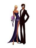 Couple wearing mask stock illustration