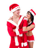 Couple wearing santa claus clothes Royalty Free Stock Photo