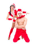 Couple wearing santa claus clothes Stock Image