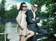 couple wearing sunglasses Stock Photo