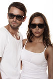 Couple wearing sunglasses Royalty Free Stock Photos