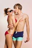 Couple wearing swimwear Stock Photography