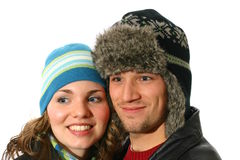 Couple wearing winter hats Royalty Free Stock Image