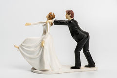 Couple wedding cake topper isolated. On white Stock Photography