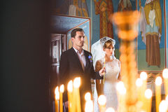 Couple at Wedding Church Ceremony Stock Photography